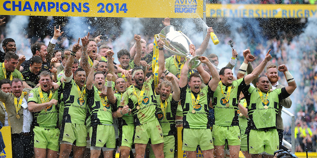 Northampton Saints captains Tom Wood and Dylan Hartley lift the Aviva Premiership trophy in celebration. Aviva Premiership Final, between Saracens and Northampton Saints on May 31, 2014 at Twickenham Stadium in London, England. Photo by: Patrick Khachfe / JMP